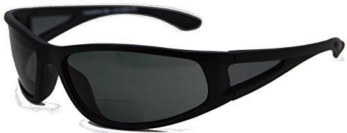 In Style Eyes® Del Mar Polarized Wrap Nearly Invisible Line Bifocal Sunglass Readers/Matte Black/2.00 Strength