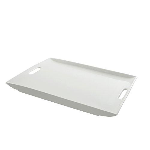 """10 Strawberry Street Whittier 19.875"""" x 14.75"""" Rectangle Platter, White"""