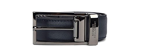 4dbf2380ca Versace Collection Men s Saffiano Leather Belt with Silver Buckle  V910225