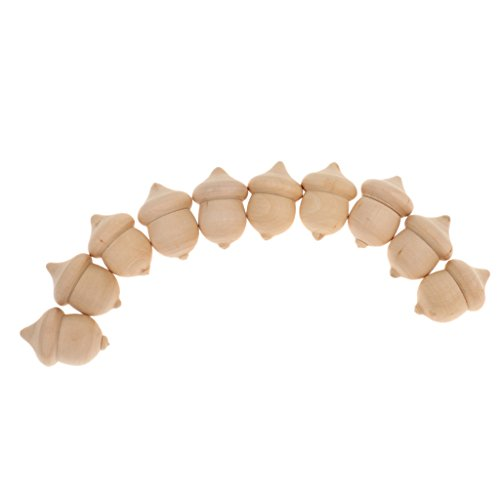 MonkeyJack 10pcs Novelty Waldorf Acorns DIY Plain Unfinished Wood Cute Kids Fashion Craft Accessories