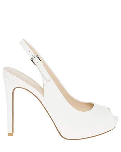 - LE CHÂTEAU Leather-Like Peep Toe Slingback Sandal,39,White