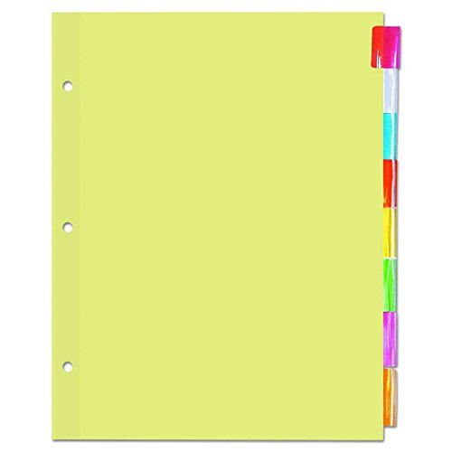 Universal 20840 Economical Insertable Index, Multicolor Tabs, 8-Tab, Letter, Buff (Box of 24 Sets)