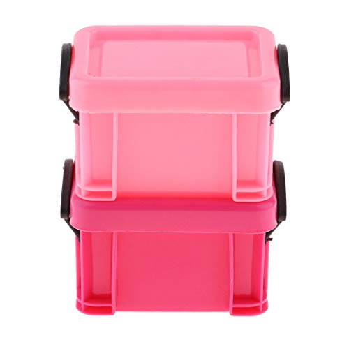 (NATFUR Dollhouse Miniature 1:6 Hot Toys Plastic Storage Box 7.8 x 6.3 x 5cm Pink)