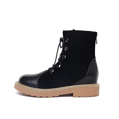 Martin Cremallera Otoño Al Botas Negro Caminar Yan Invierno Mujer Para Ocasionales Libre E La Zapatos Nieve Aire Cordones Moda Plataforma Tacón De Tobillo Con Bloque W1wqWTYR