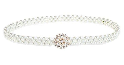 Rhinestone White Belt Buckle - Stretch Belts for Women Pearl Rhinestone Amiveil White Elastic Belt