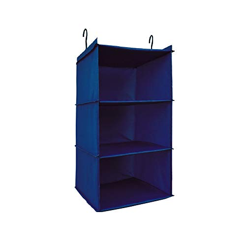 UMEXUS 3 Shelves Foldable Hanging Closet Organizer Hanging Shoe Organizer Oxford Cloth, with 2 Metal Hooks (Navy-3 Shelf) ()