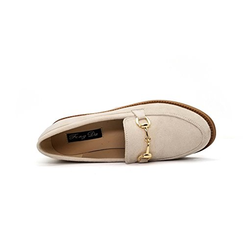 T-juli Kvinna Mode Oxfords Skor - Retro Halka På Låg Klack Rund Tå Mocka Skor Aprikos