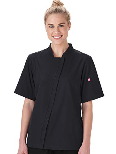 (Five Star Chef Apparel 18501 Women's Angle Zip Front Chef Coat Black S)