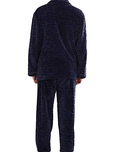 Mens Flanella Due Pigiama abiti Moda semplice Caldo casa di Cardigan Loungewear Blue ispessimento Home Sleepwear Inverno comodi Servizio rqUYA