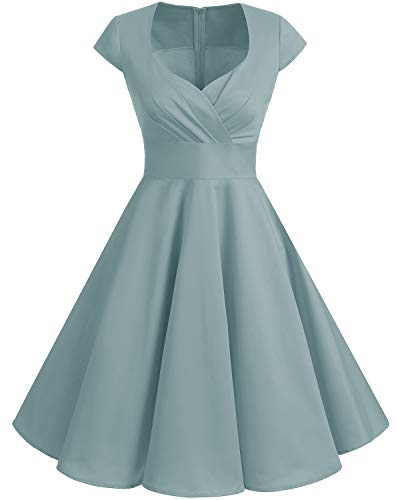 Bbonlinedress Women Short 1950s Retro Vintage Cocktail Party Swing Dresses Grey XS (Best Wedding Dresses For Short Women)