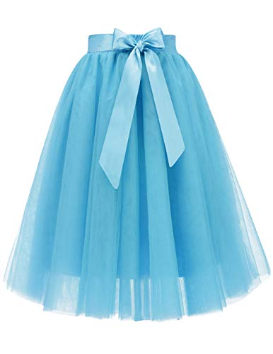 Bridesmay Women's Knee Length 5-Layered Tulle A-line Tutu Skirt Evening Party Prom Skirt Blue S]()