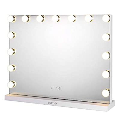 Homfa Hollywood Specchio Trucco con LED Illuminato Regolabile a Tocco con 3 Tipi di Luci Specchio Luminoso per il Trucco da Tavolo Specchio Rettangolo Make Up Bagno Bianca