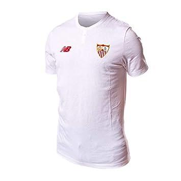 New Balance Sevilla FC MC Algodón 2017-2018, Camiseta, White, Talla M