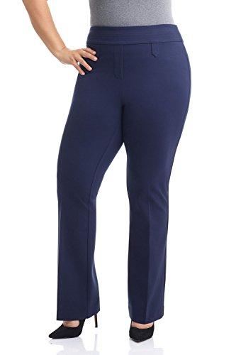 Rekucci Curvy Woman Secret Figure Knit Bootcut Plus Size Pant w/Tummy Control (16W,Navy) Designer Knit Suit