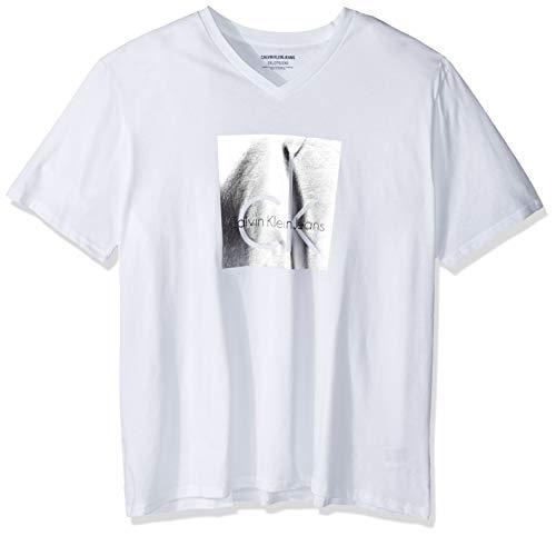 Calvin Klein Men's Big and Tall Short Sleeve Monogram Logo T-Shirts, Brilliant White Foil, Large ()