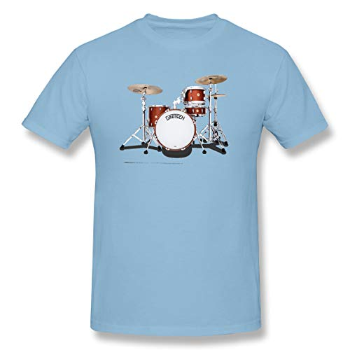 WENSON Men Gretsch-Drums-Gretsch-Catalina-Club-Jazz-percussio-Drumset Classic T Shirts Sky Blue 3XL with Short Sleeve
