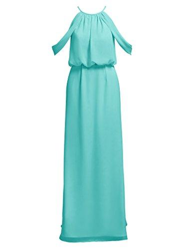 Alicepub Robes Dos Nu Soirée Robes De Bal De Demoiselle D'honneur En Mousseline De Soie Colonne Partie De Balle Bleu Aqua