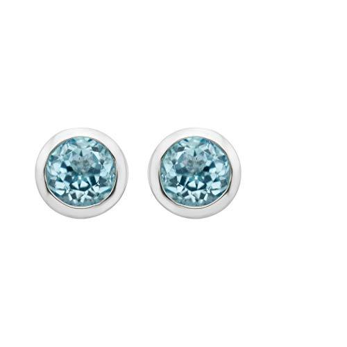 .925 Sterling Silver Blue Topaz Gemstone Petite 4mm Bezel Cup set Stud Earrings - December - Topaz Blue Jewelry Solid Set