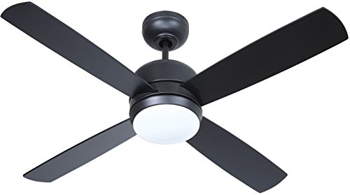 Craftmade Montreal MN44FB4-LED 44 Inch Ceiling Fan Bedroom Fan with Light and Wall Control, 4 Blades, Flat Black (Craftmade Light Fan Ceiling)