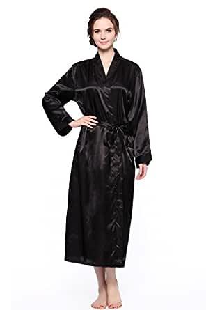 Lavenderi Women's Long Classic Satin Kimono Lounge Bathrobe Robe (S, Black)