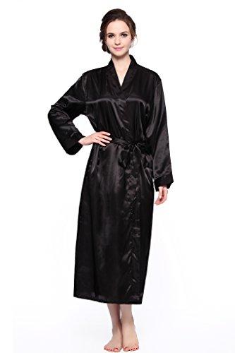 (Sunrise Women's Long Classic Satin Kimono Lounge Bathrobe Robe (Medium, Black))