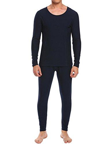 Ekouaer Men's Winter Thermal Long Sleeve Shirts&Fleece Lined Leggings(Navy,Medium) ()