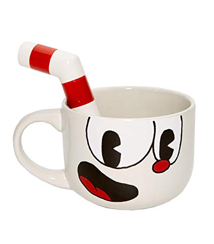 JUST FUNKY Official Cuphead Bowl Shaped Gloss Finished Large Ceramic Coffee Mug / Cup with Molded Stirrer / Straw, White Colored, 20 OZ