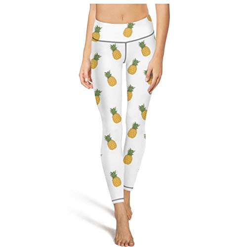 (Hamily Broderei Women's Yoga Leggings Pineapple Repeating Pattern Exercise Workout Pants Gym Tights)