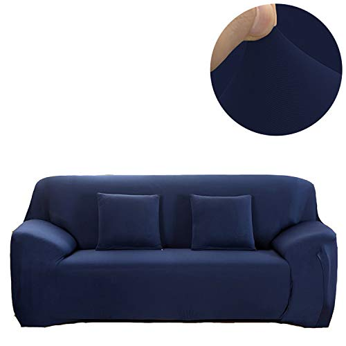 ANJUREN 1 Piece Sofa Couch Loveseat Chair Slipcover Cover Polyester Spandex Living Room Sofas Furniture Stretch Slip Covers Shield Protector (Love seat, Navy Blue)