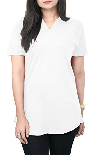 Cotton T-Shirt for Women: 100% Cotton Tee Shirt, V-Neck Top, Plain T-Shirt, Breathable, Soft and Comfortable T Shirt for Women, Casual Style Top, Plain Tee by HAK (Snow White, X-Large)