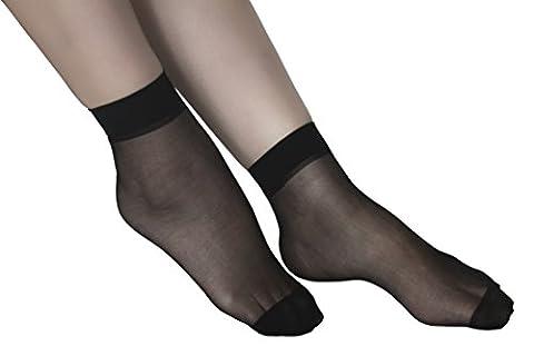 Lanko 5 Pairs Ankle High Thin Socks Nylon Hosiery Women Spandex Sheer Pantyhose-Black (Ankle High Hose)