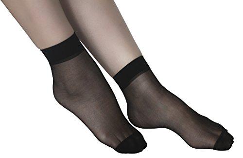 High Thin Socks Nylon Hosiery Women Spandex Sheer Pantyhose-Black ()