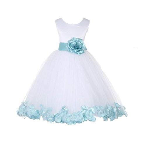 ekidsbridal White Floral Rose Petals Flower Girl Dress Birthday Girl Dress Junior Flower Girl Dresses 302s 4