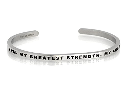 Cuff 3mm (Dolceoro Mantra Bracelet Phrase: MOM, MY GREATEST STRENGTH, MY ANGEL - 316L Surgical Steel Dainty 3mm Cuff Band)