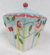Sakura Oneida Mary Engelbreit Cherry Blossom Hand Painted Earthenware Cookie Jar Canister