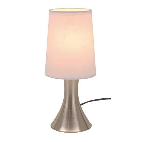 Lámpara de mesa con regulador de intensidad táctil, 3 niveles de intensidad, pie de acero inoxidable y pantalla blanca