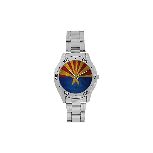 Novelty Gift Arizona Flag US State Men's Stainless Steel Analog Watch ()