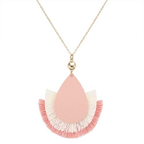 GLBCC Statement Tassel Pendant Necklace - Handmade Leather Fan Charm Fringe Necklace Boho Teardrop Thread Tassel Long Chain Necklace (Pink)