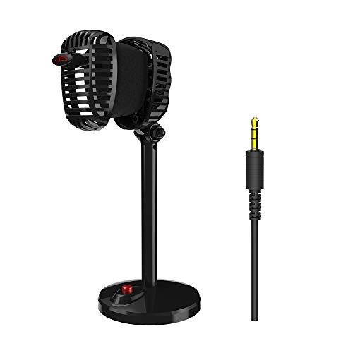 Festnight Condenser Microphone Retro 3.5MM Plug and Play Omnidirectional Wired JIES Mic with Antiskid Cushion Game Singing YouTube Video Recording Podcast for PC Computer]()