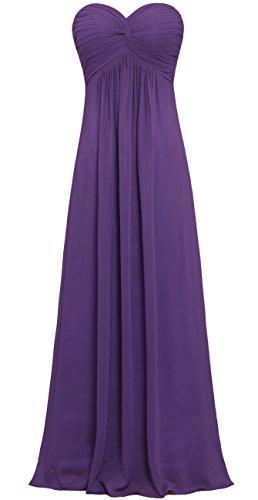 Pleat Bridesmaid Chiffon Long s ANTS Grape Strapless Women Gowns Dresses 0wxWExn6F