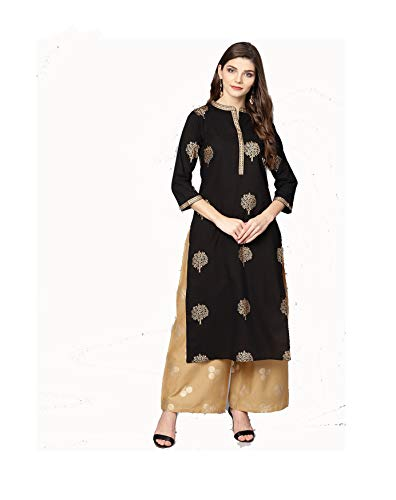 (Women Black & Beige Printed Kurta with Palazzos Full Set Dream Angel Fashion (Large-38))