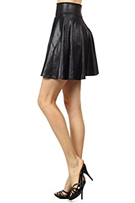 Simplicity Women's Wet Look Faux Leather High Waist A Line Pleated Mini Skirt