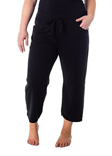 Hanes Premium Womens French Terry Capri with pockets Black S 6 Pocket Capris