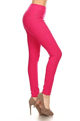 - Leggings Depot Premium Quality Jeggings Regular and Plus Soft Cotton Blend Stretch Jean Leggings Pants w/Pockets (2X-3X, Fuchsia)