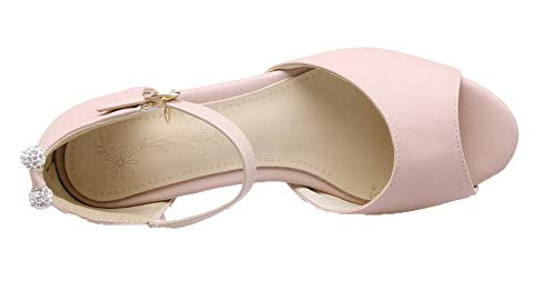 AgooLar Unie d'orteil Ouverture Boucle Talon Femme Sandales Bas Couleur GMBLB015117 Rose à wHBpwCqO