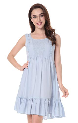 N NORA TWIPS Women's Sleepwear Casual Scoop Neck Nightshirt Sleeveless Nightgown Light Blue