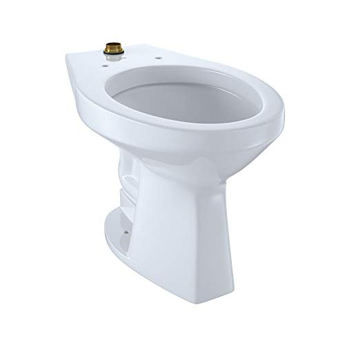 TOTO CT705ULN#01 Elongated 1.0 GPF Floor-Mounted Flushometer ADA Compliant Toilet Bowl with Top Spud, Cotton White-CT705ULN