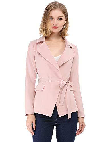 Belted Blazer - Allegra K Women's Casual Work Office Blazer Long Sleeve Open Front Jacket Suit Pink M (US 10)