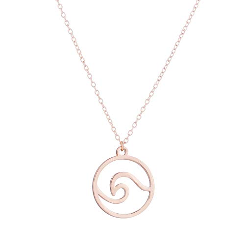 (MIXIA Stainless Steel Wave Necklace Pendant Beach Nautical Surfer Jewelry for Women Round Ocean Wave Choker (Rose Gold))