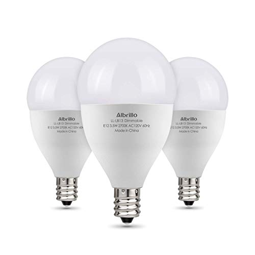 Albrillo E12 LED Bulb Dimmable Candelabra LED Bulbs, 40W Equivalent Chandelier Light Bulbs, Warm White 2700K, 3 Pack